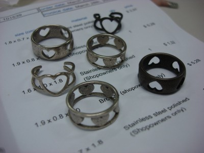 Stainless steel and bronze rings